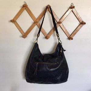 THE SAK Leather Braided Handle Oversize Hobo Bag